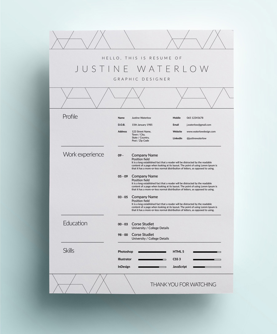 Graphic Design Resumes graphic design resume examples Graphic Design Resume Example With Whitespace