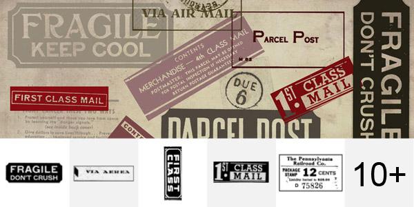 Postage Label Brush Set