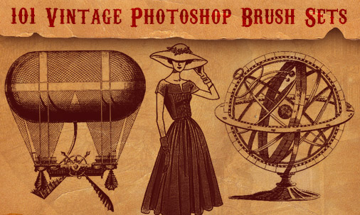 101 Free Retro & Vintage Photoshop Brushes for 2014