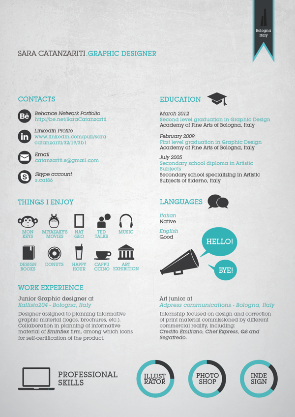 Attractive Graphic Design Resume With Cool Color Scheme Intended Resume Graphic Designer