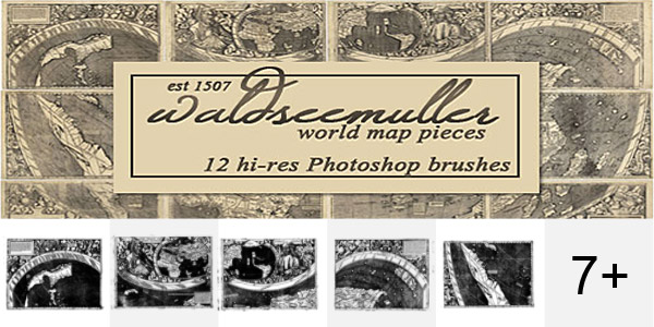 Waldseemuller World Map Photoshop Brushes