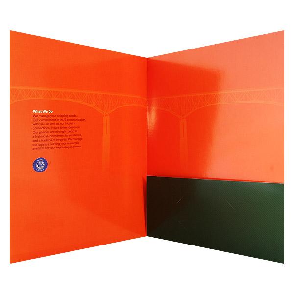 Right Pocket Presentation Folder Using Ink to Color Cover