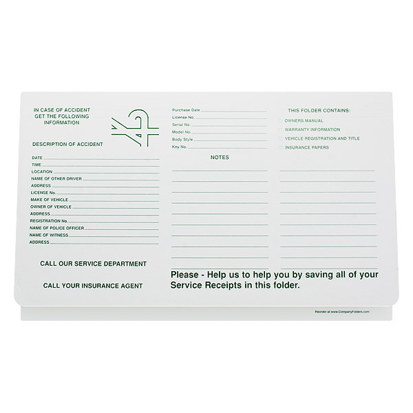Car Sales Document Holder/Folder