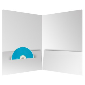 An Open Folder With a CD in a Brochure Slit