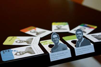 Business Cards with Photos Highlighted by Die-Cut