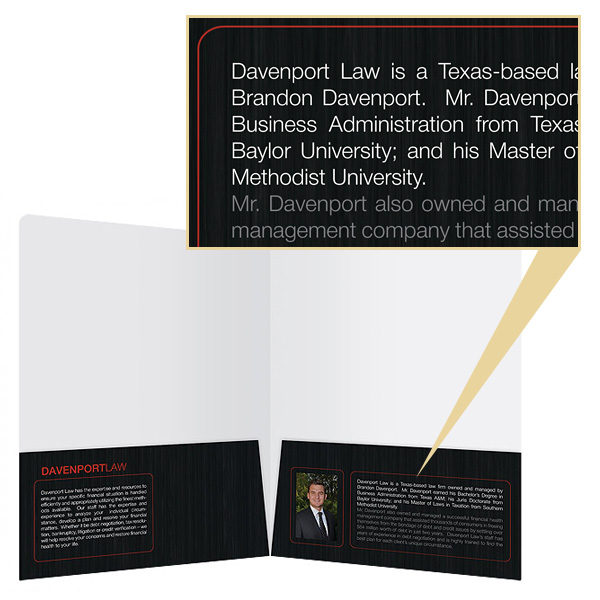 Two Pocket Folder with White on Black Font