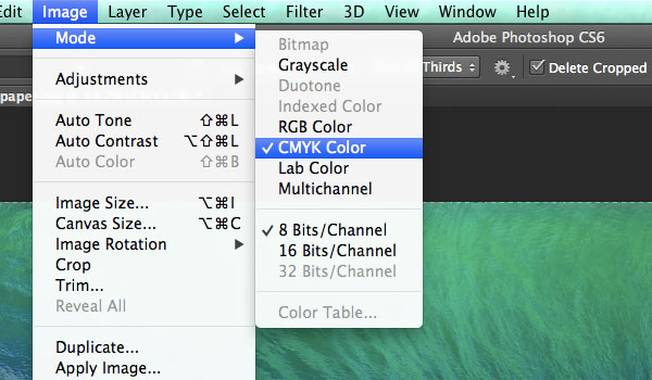 Converting to CMYK Mode in Photoshop CS6