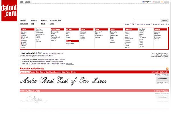 Best Free Font Sites - DaFont