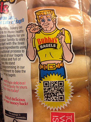 Bad Print Design Trends - Bubba's Bagels with Poorly Placed QR Code