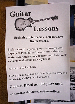 Bad Print Design Trends - Printed Guitar Lesson Flyer