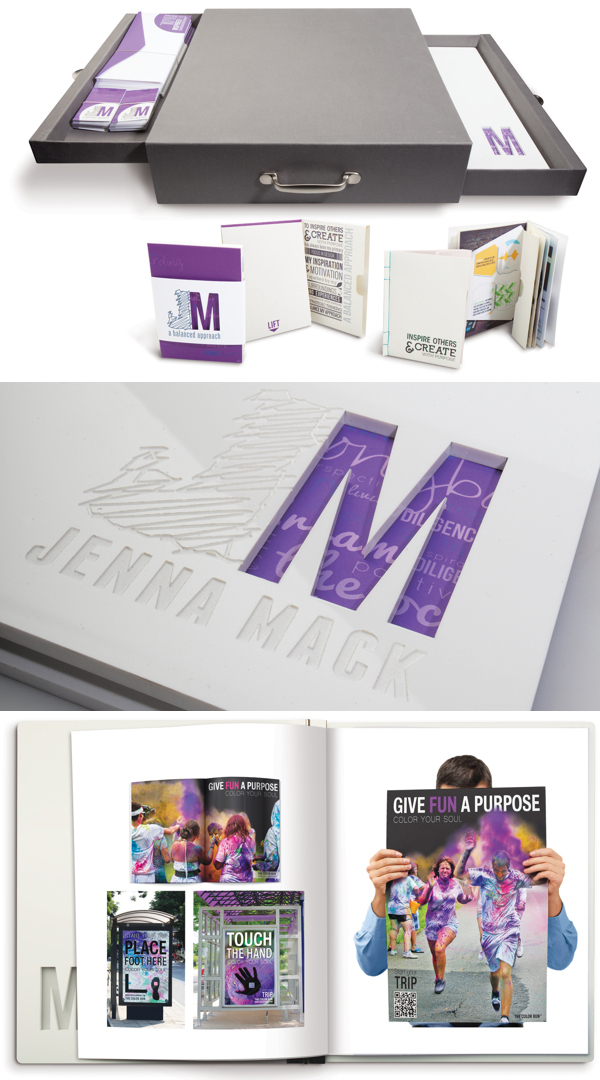 printed graphic design portfolio example jenna mack - Graphic Design Portfolio Ideas
