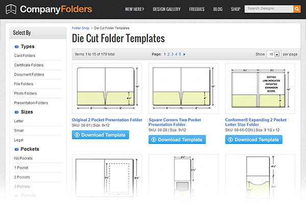 Die Cut Folder Templates - 2013