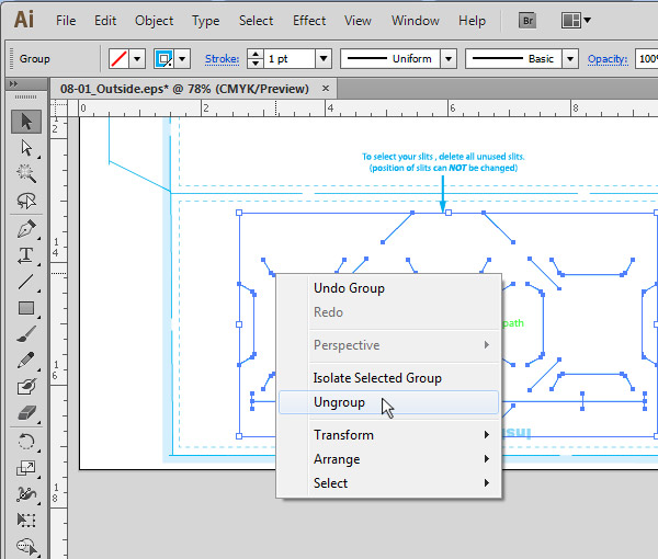 Ungrouping Pocket Slits in Illustrator