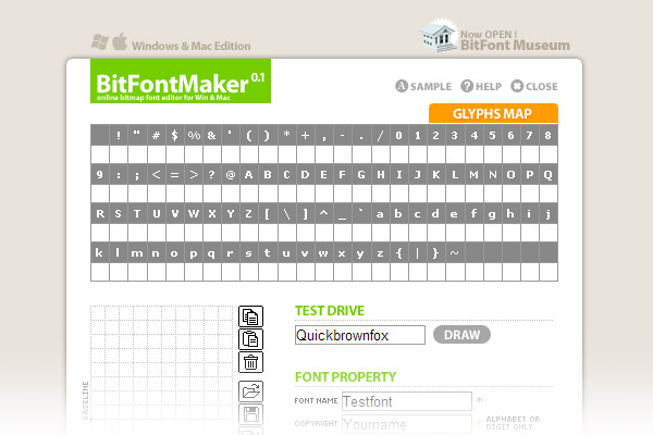 BitFontMaker2 - tools to create your own font directly in your web browser with an easy pixel-by-pixel editor