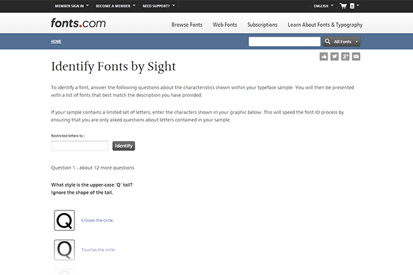 Identify Fonts by Sight - answer questions to ID the name of a font