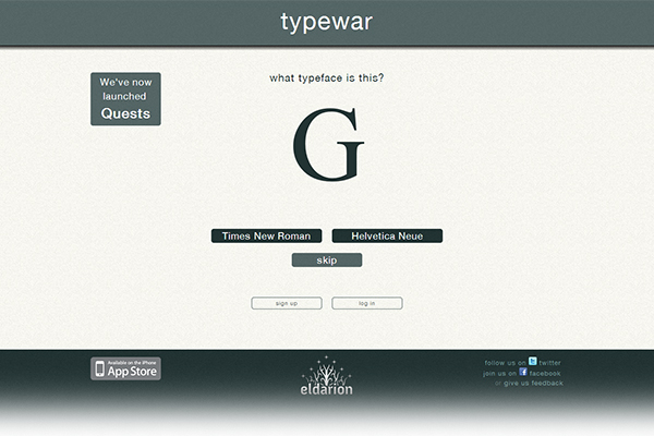Typewar - font identification game