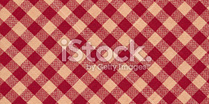 High Resolution Red and Tan Gingham Tablecloth Background