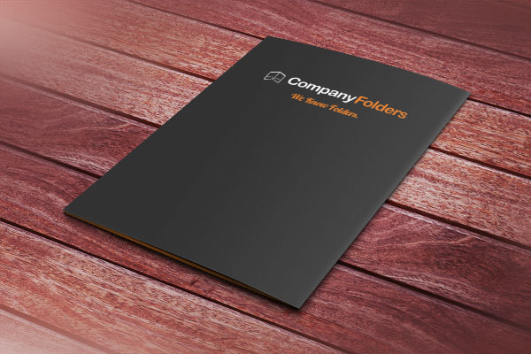 Presentation Folder Mockup with Wood Background