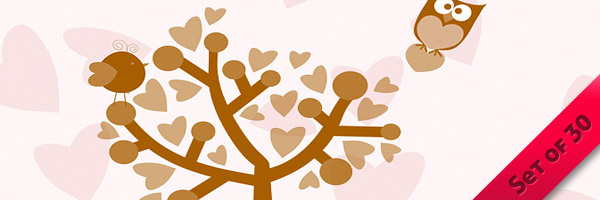 Valentine's Day Brushes: Birds, Trees & Hearts