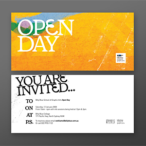 billy blue open day invitation - Postcard Design Ideas