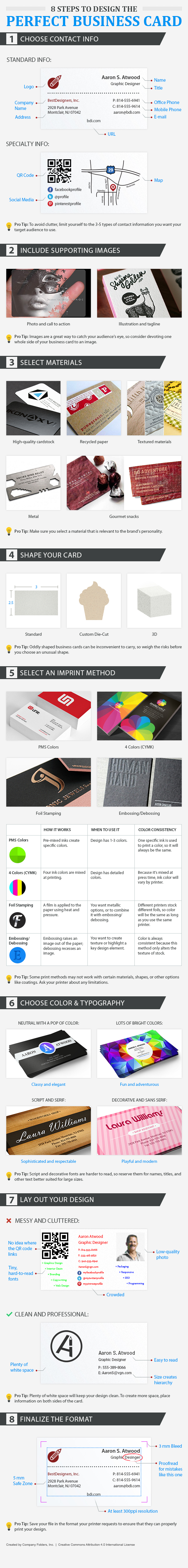 Business card design tips top ideas for designers in 2018 8 tips to design the perfect business card infographic reheart Image collections