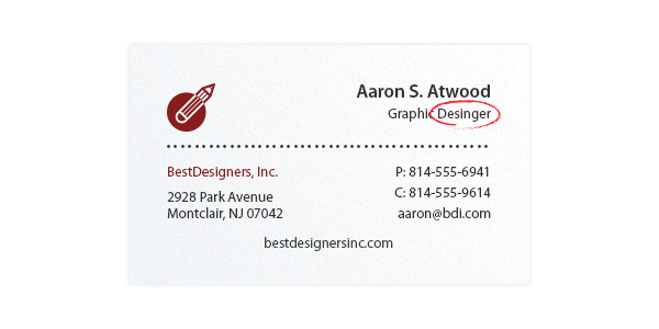 Business card design tips top ideas for designers in 2018 typos on a business card colourmoves Choice Image