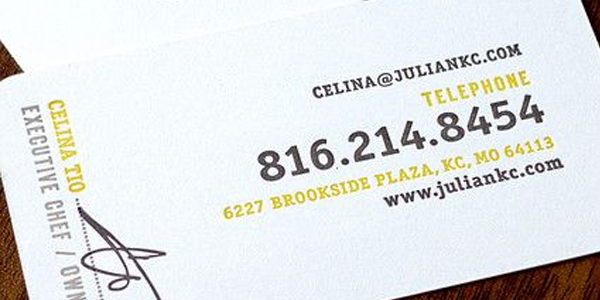 Phone number being shown on a business card