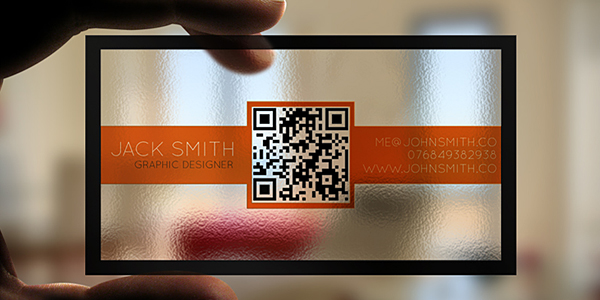 Clear business card with a QR code