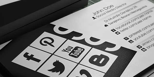 Business card with social media info