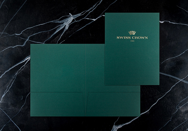 Gold Foil Stamped Presentation Folder Printed on Green Felt Paper