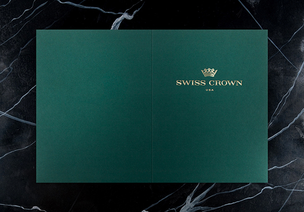 Swiss Crown Folder Design (Front and Back Flat View)