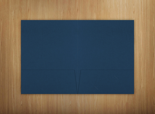 Blue Linen Presentation Folders with Two Pockets