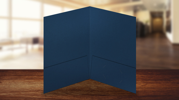 Dark Blue Linen Two Pocket Presentation Folder