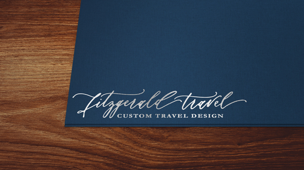 Silver Foil Stamped Folder on Dark Blue Linen Stock