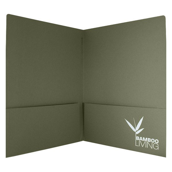 Bamboo Living Green Pocket Folder (Open View)