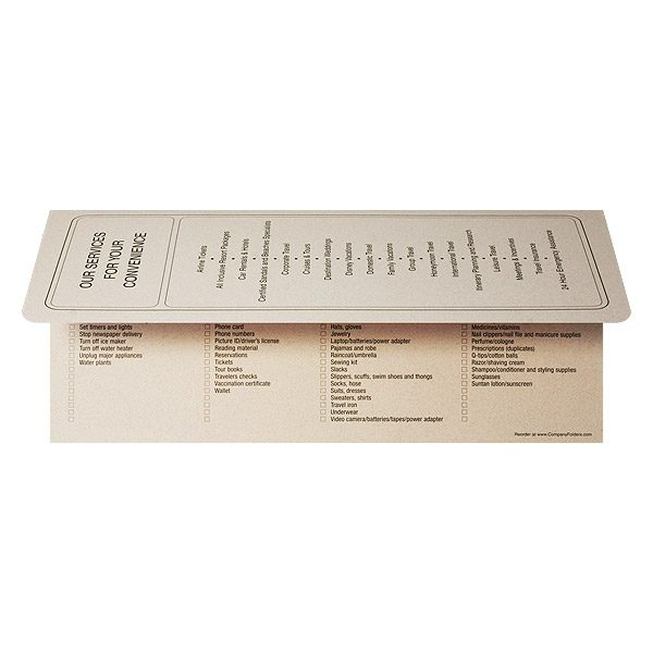 5 Star Travel Vacation Documents Folder (Back Open View)