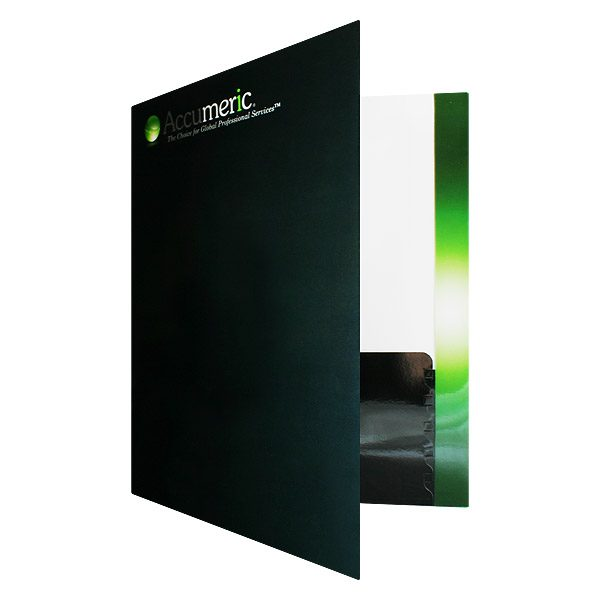 Accumeric Glowing Green Pocket Folder (Front Open View)