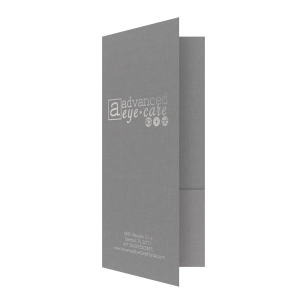 Advanced Eyecare Foil Stamped Linen Folder (Front Open View)