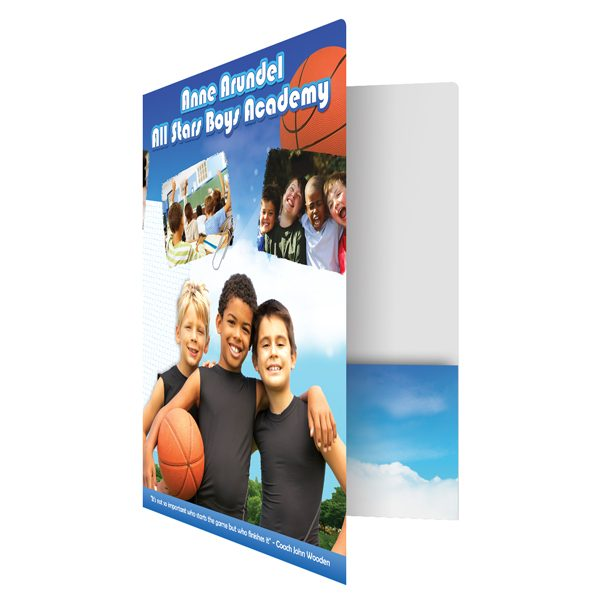 All Stars Boys Academy Basketball Pocket Folder (Front Open View)