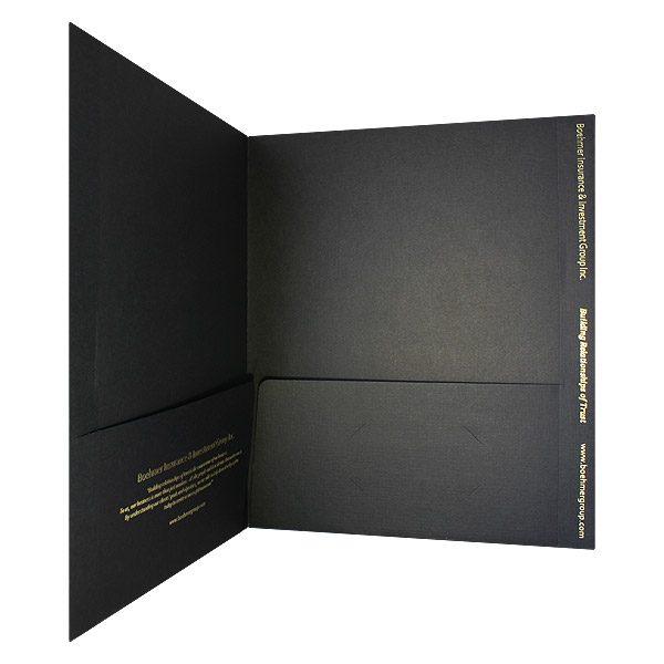 Boehmer Gold Foil Stamped Folder (Inside Pocket View)