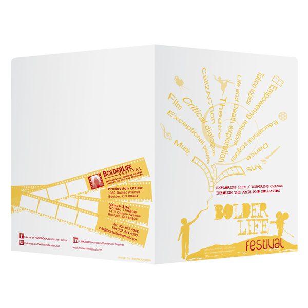 Artistic Presentation Folders for BolderLife Festival (Front and Back View)
