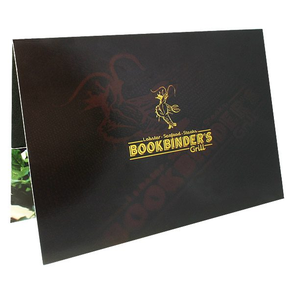 Bookbinder's Grill Lobster Logo Folder (Front Open View)