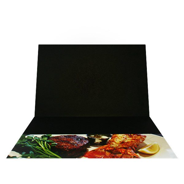 Bookbinder's Grill Food Presentation Folder (Inside View)