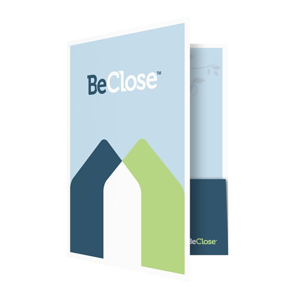 BeClose Caregivers Informational Pocket Folder (Front Open View)