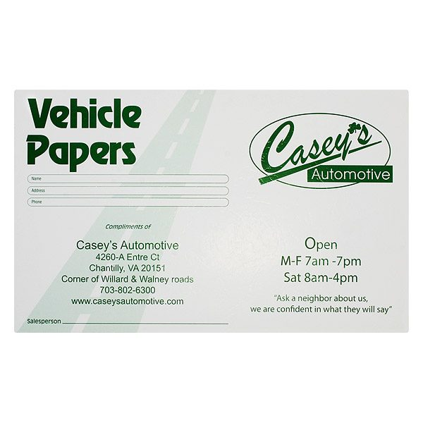 Casey's Automotive Vehicle Maintenance Folder (Front View)