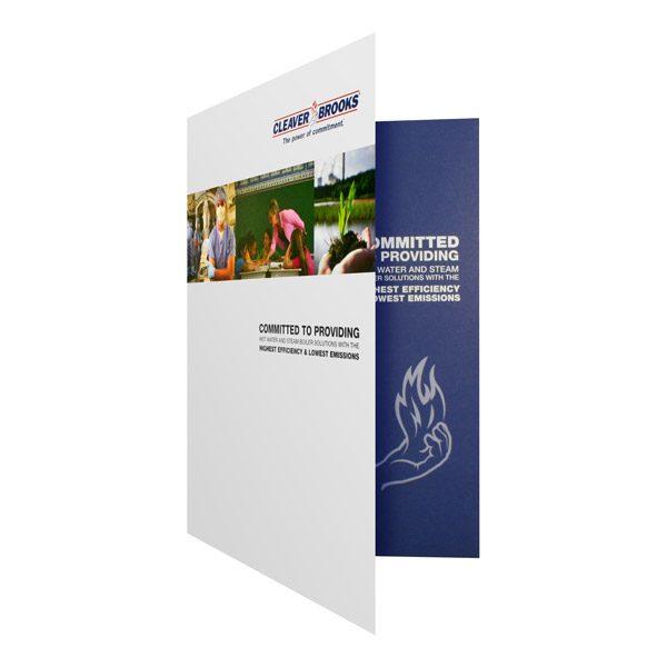 Cleaver Brooks White & Blue 2-Pocket Folder (Front Open View)