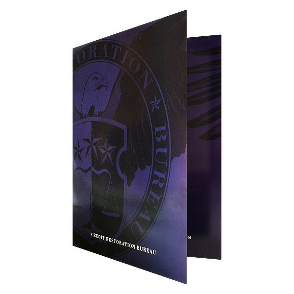 Credit Restoration Bureau Wrap-Around Tri-Fold Folder (Front Open View)