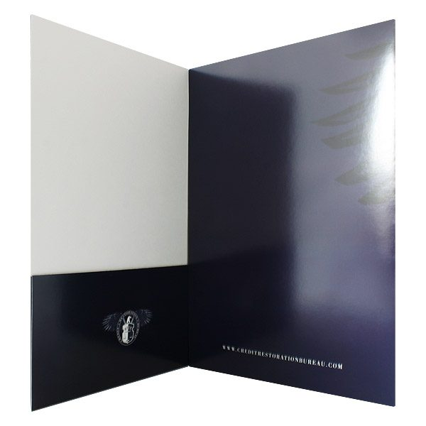 Credit Restoration Bureau Purple Presentation Folder (Inside Panel View)