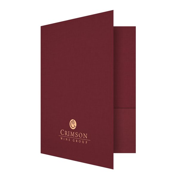 Crimson Wine Group Red & Gold Presentation Folder (Front Open View)