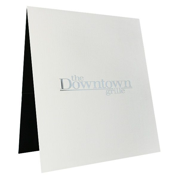 Menu Presentation Folders for Downtown Grille (Front Open View)